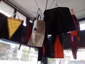 Shopping bags from fabric of broken umbrellas