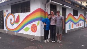 The other EVS Volunteers and me after painting the wall