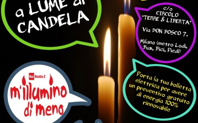 """Cena a lume di candela per """"Mi illumino di meno"""""""